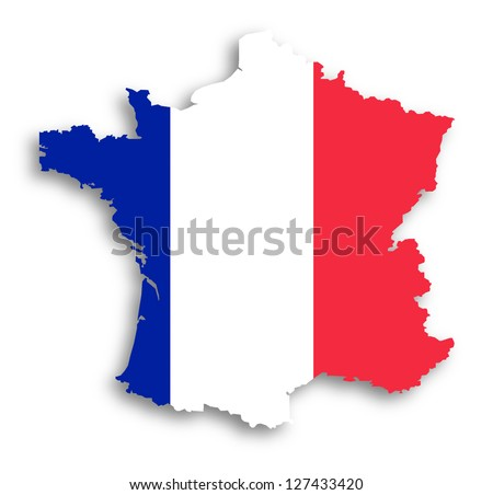 Map of the French Republic with national flag isolated - stock photo