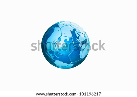 Map of the globe on a blue leather football