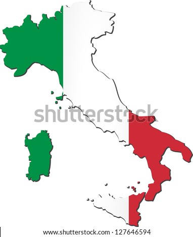 Map of the Italian Republic with national flag isolated on white background (raster illustration) - stock photo