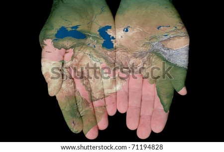Map Of The Middle East Painted On Hands Showing Concept Of The Middle East In Our Hands - stock photo