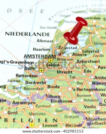 Map Netherlands Pin Set On Amsterdam Stock Photo Royalty Free