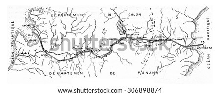 Map of the Panama Canal, vintage engraved illustration. Industrial encyclopedia E.-O. Lami - 1875. - stock photo
