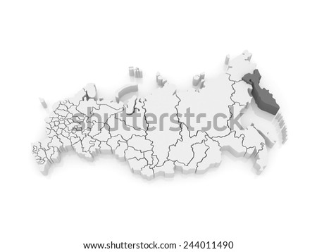 Map of the Russian Federation. Kamchatka Krai. 3d - stock photo