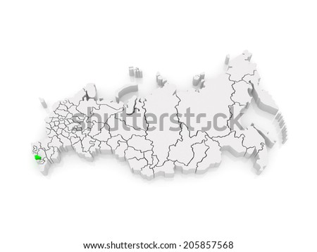 Map of the Russian Federation. Republic of Kabardino-Balkaria. 3d