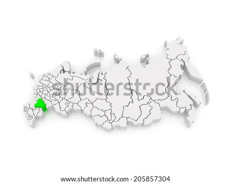 Map of the Russian Federation. Volgograd region. 3d