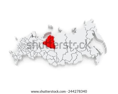 Map of the Russian Federation. Yamal-Nenets Autonomous Okrug. 3d - stock photo
