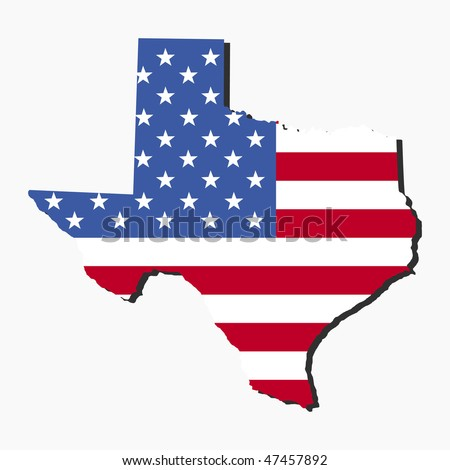 Map of the State of Texas and American flag illustration JPEG