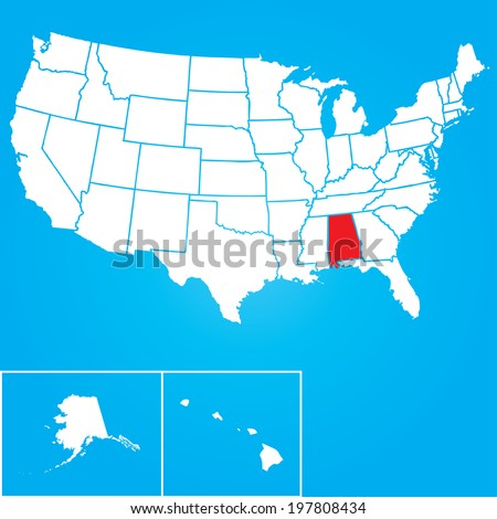 Map of the the United States of American with the states of Alabama selected