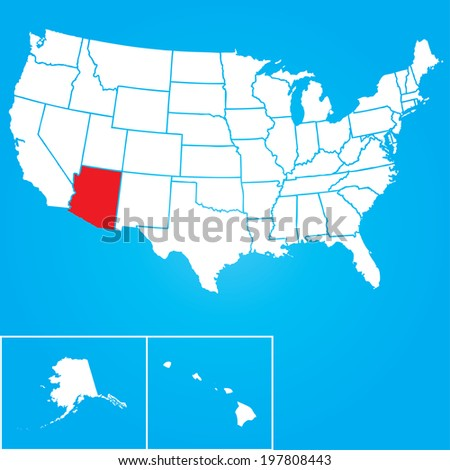 Map of the the United States of American with the states of Arizona selected