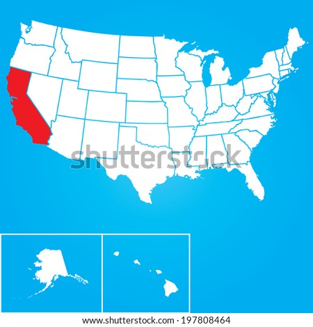 Map of the the United States of American with the states of California selected