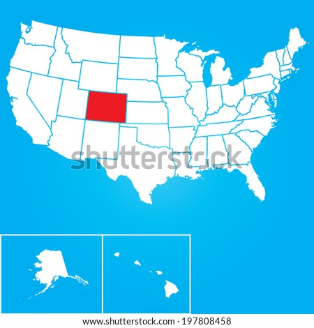 Map of the the United States of American with the states of Colorado selected