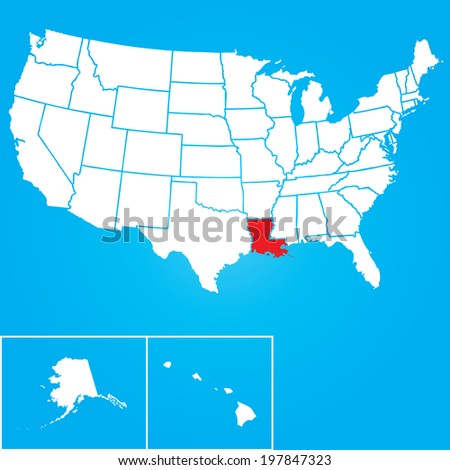 Map of the the United States of American with the states of Louisiana selected