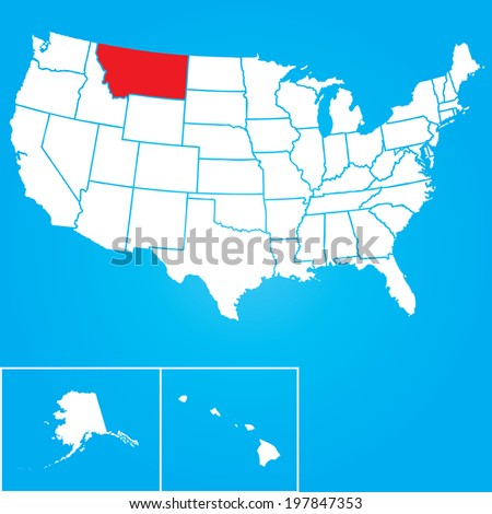 Map of the the United States of American with the states of Montana selected