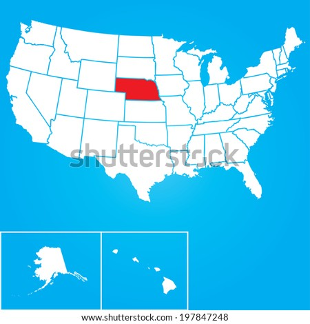 Map of the the United States of American with the states of Nebraska selected