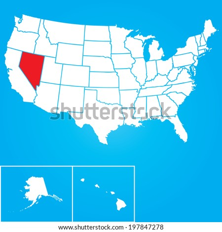 Map of the the United States of American with the states of Nevada selected