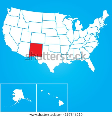 Map of the the United States of American with the states of New Mexico selected