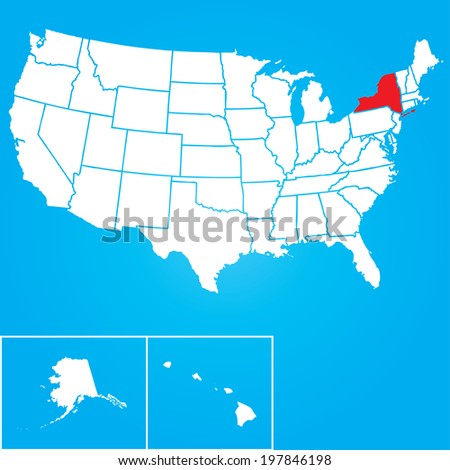 Map of the the United States of American with the states of New York selected