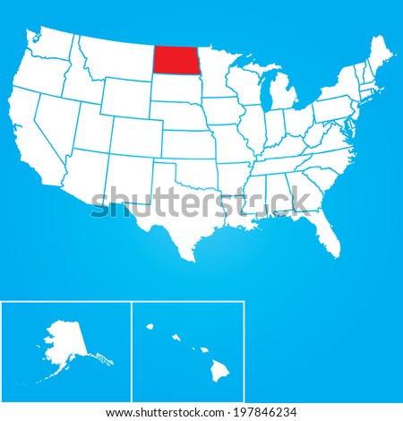 Map of the the United States of American with the states of North Dakota selected