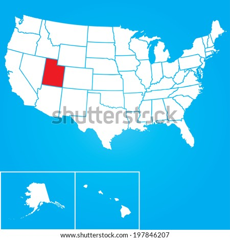 Map of the the United States of American with the states of Utah selected