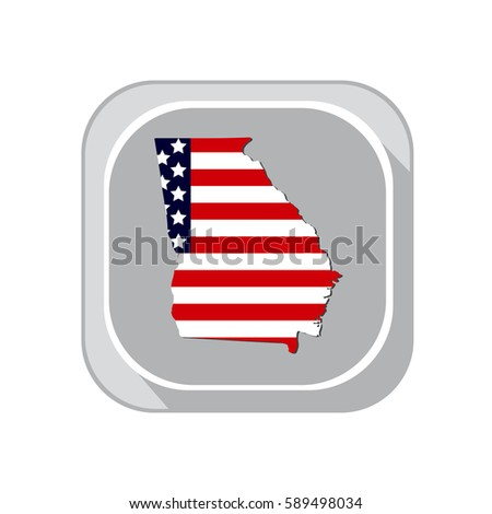 Map Of The U S State Georgia On A White Background American Flag