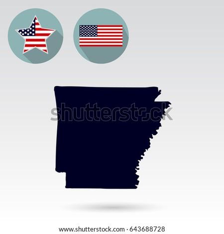 Map Us State Arkansas On White Stock Vector Shutterstock - Arkansas in us map