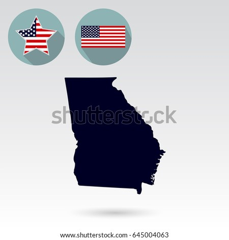 Map Of The U S State Of Georgia On A White Background American Flag Star