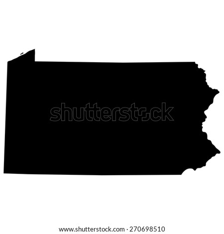Pennsylvania Black Map On White Background Stock Vector - Map of us black