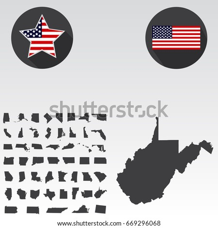 map of the u s state of west virginia on a white background