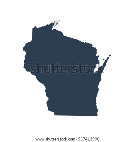 Map Us State Wisconsin Stock Vector Shutterstock - Us map wisconsin state