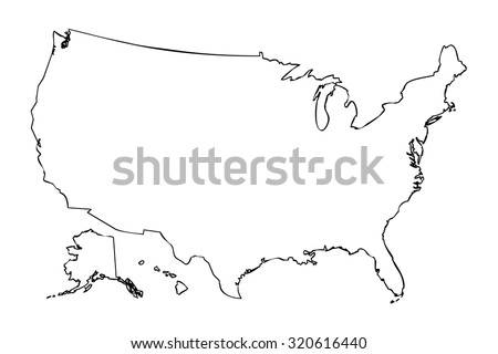 map of the united states of america with black outline on white background without internal borders - stock photo