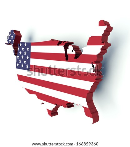 Map of the United States of America with flag colors. 3d render illustration. - stock photo