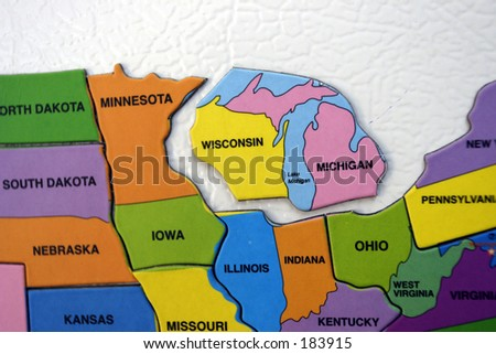 Map of the USA, north central
