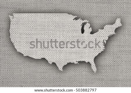 Map of the USA on old linen