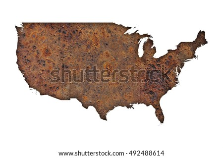 Map of the USA on rusty metal