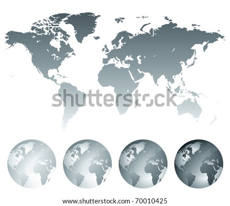 Map of the World and globes. Raster version. Vector version is also available. - stock photo