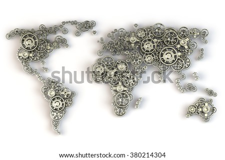 Map of the world from gears. Global economy connections and international  business concept. 3d - stock photo