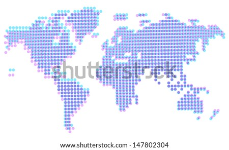 Map of the World in old typographic offset style, dotted abstract graphic. Raster version. Vector version is also available. - stock photo