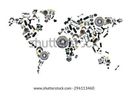 Map world made spare parts spare stock photo 296113460 shutterstock map of the world made up of spare parts spare parts for shop aftermarket gumiabroncs Choice Image