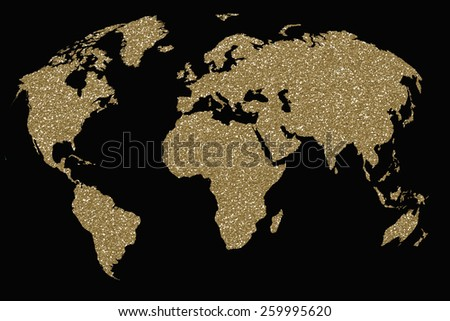Map World Gold Glitters On Black Stock Illustration - Black and gold world map