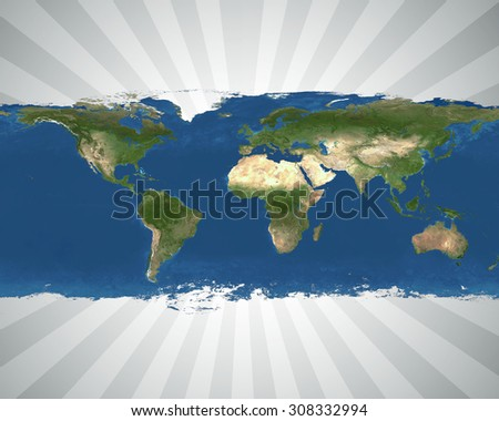 map of the world with a white and black sun burst effect behind it - stock photo