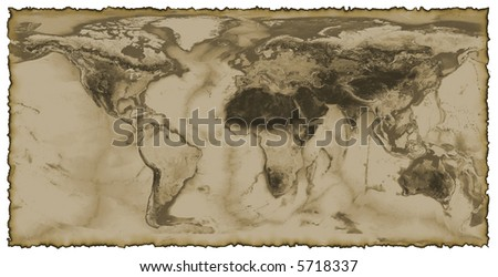 Map of the world with burnt edges