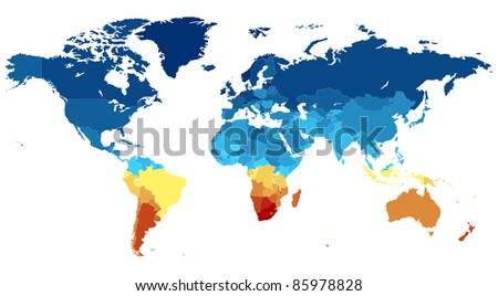 Map of the World with countries in various colors. Raster version. Vector version is also available.