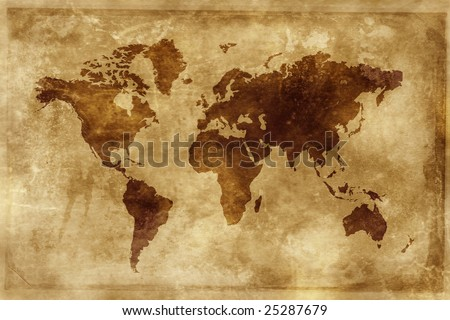 Map of the world - world illustration - stock photo