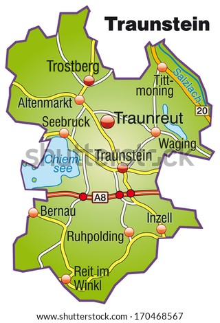 Map of Traunstein with highways