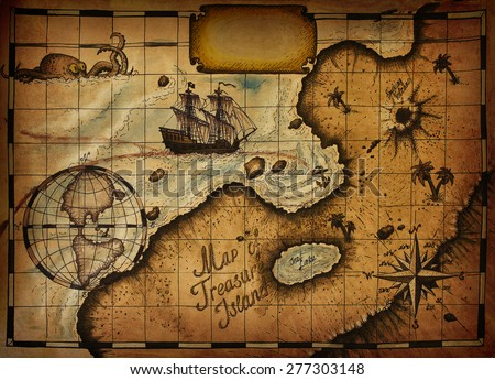 Map of Treasure Island with the specified path and blank space for text - stock photo