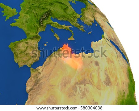 Detailed Satellite View Earth Landforms Africa Stock Illustration - Tunisia earth map