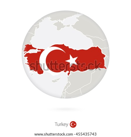 Map of Turkey and national flag in a circle. Raster copy.