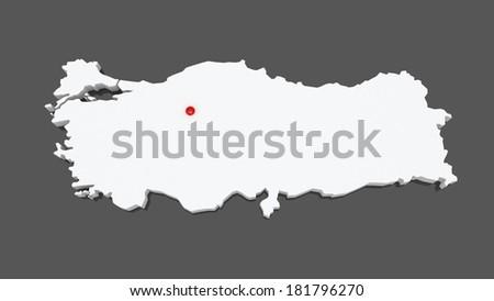 Map of Turkey. 3d - stock photo
