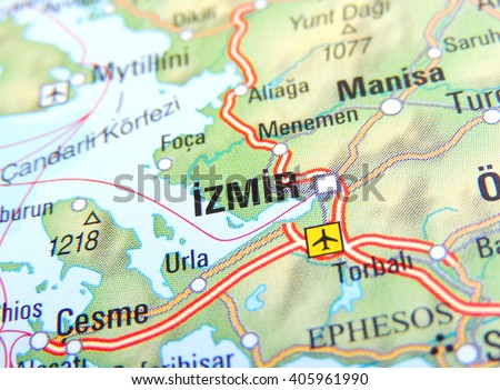 Map of Turkey with focus on Izmir - stock photo