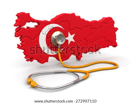 Map of Turkey with Stethoscope (clipping path included) - stock photo